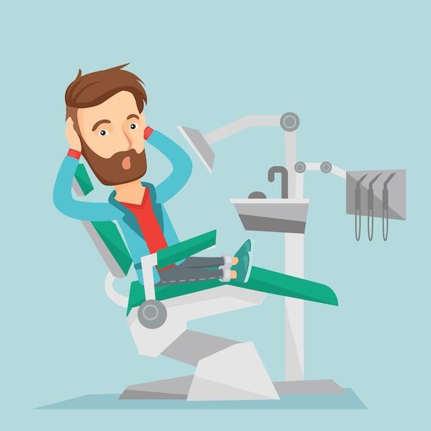 Scared patient in dental chair vector illustration Premium Vector