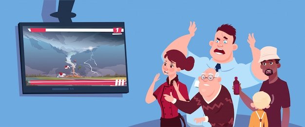 Scared people watching news about twisting tornado hurricane in usa storm waterspout in countryside natural disaster concept Premium Vector
