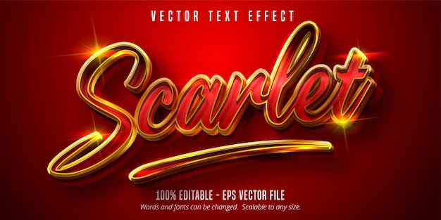 Scarlet text, shiny gold and red color style editable text effect Premium Vector