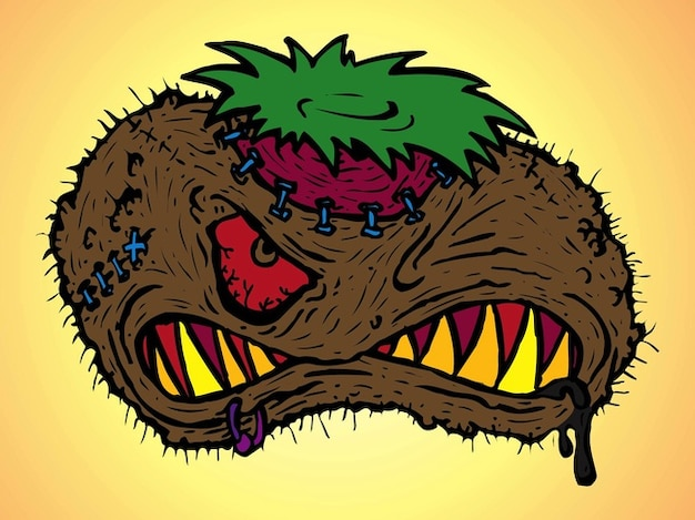 Scary and angry cartoon character