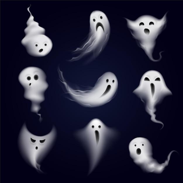 Страшная и забавная коллекция икон призрачных эмоций, образованная реалистичной парообразной дымкой Бесплатные векторы