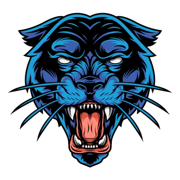 Scary angry black panther head Free Vector