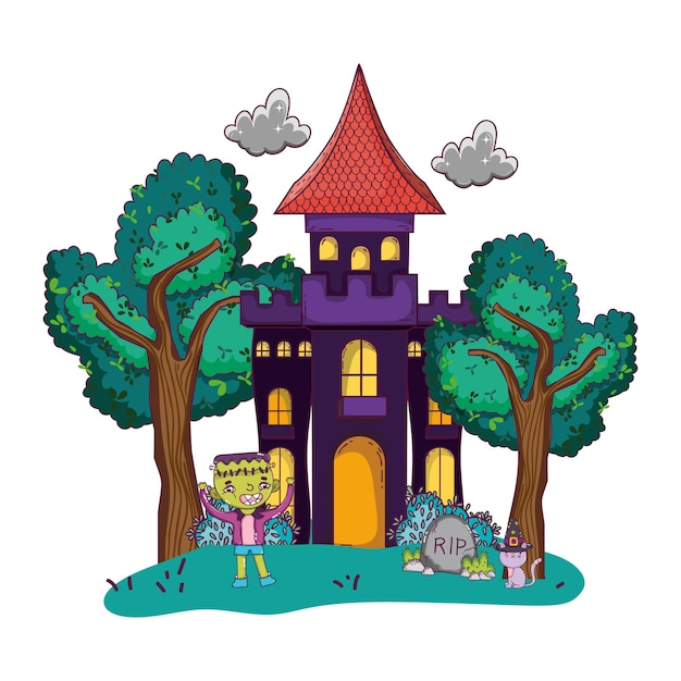 Scary castle with boy frankenstein costume Premium Vector