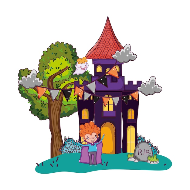Scary castle with boy vampire and halloween costume Premium Vector