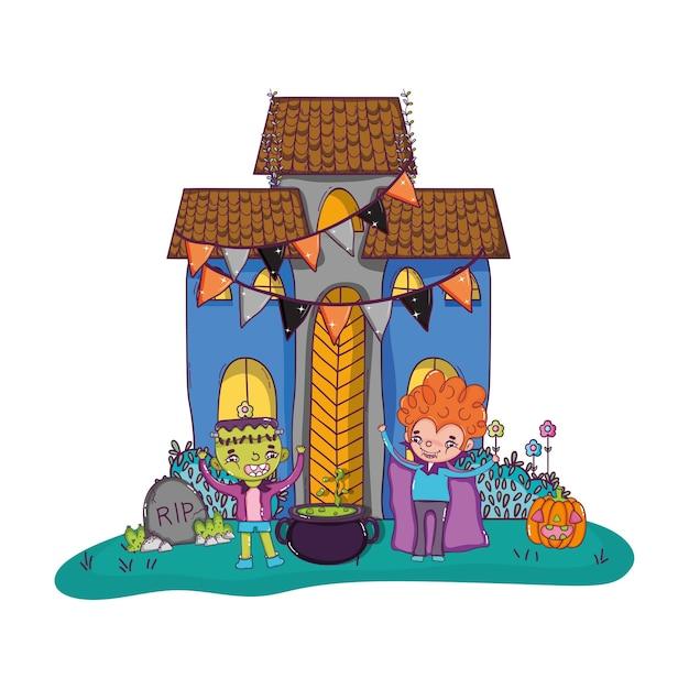 Scary castle with children costume and pot cauldron Premium Vector