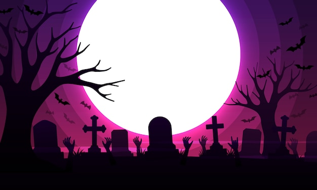 Scary cemetery with graves Premium Vector