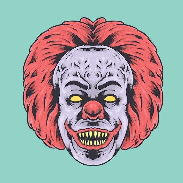 Страшная иллюстрация лица клоуна Premium векторы