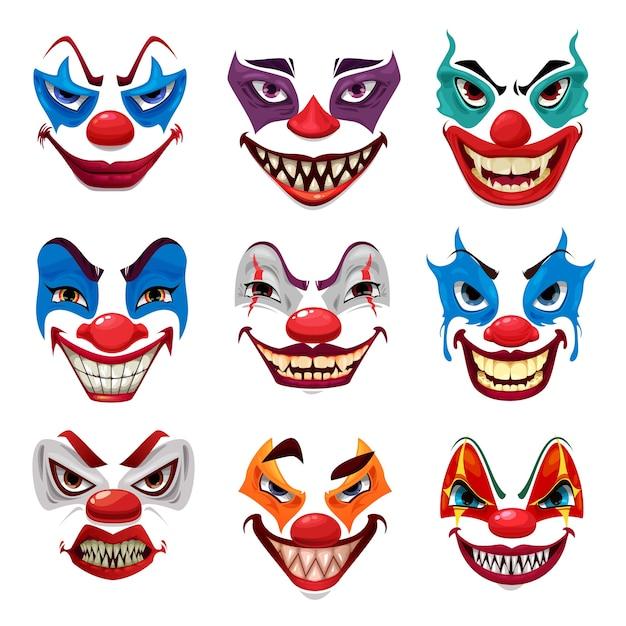 Страшные лица клоуна Premium векторы