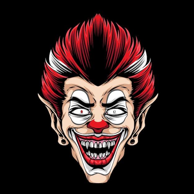 Страшный талисман головы клоуна Premium векторы