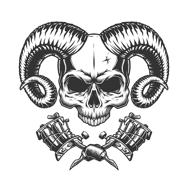 Scary demon skull without jaw Free Vector