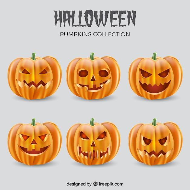 Scary faces of halloween jackolantern Free Vector