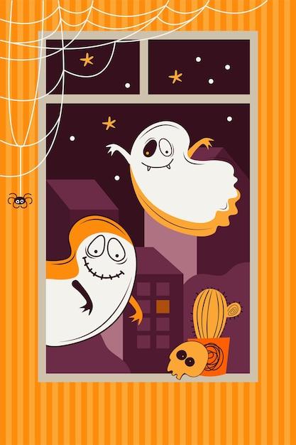 Страшные призраки летают за окном на фоне ночного города. украшение комнаты череп, паук, паутина, забавный монстр. плоские векторные иллюстрации Premium векторы