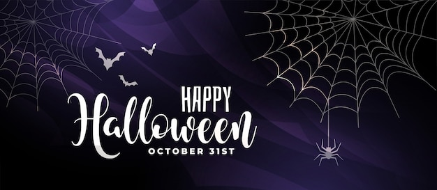 Scary halloween background with bats and spider web Free Vector