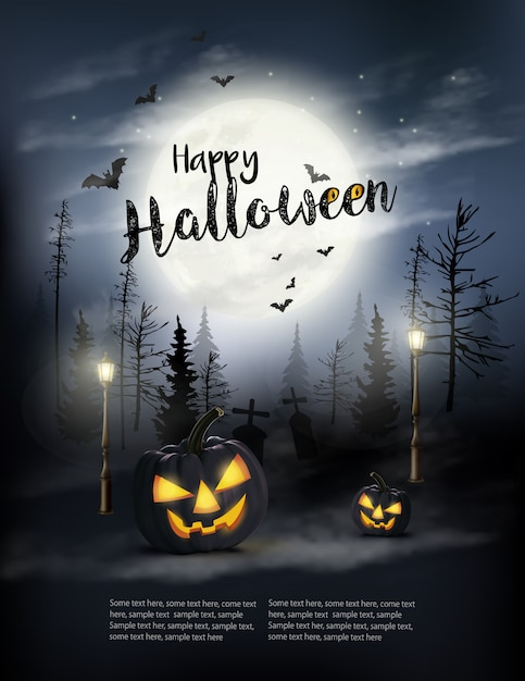 Scary halloween background with pumpkins and moon. Premium Vector