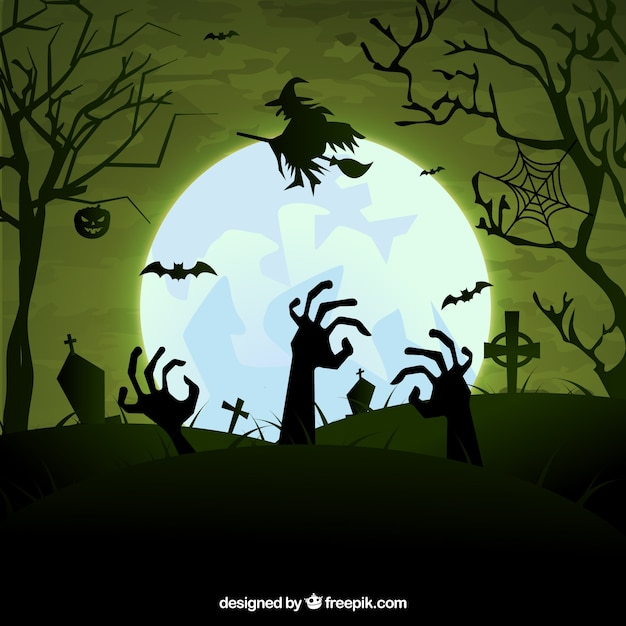 scary halloween cemetery free vector