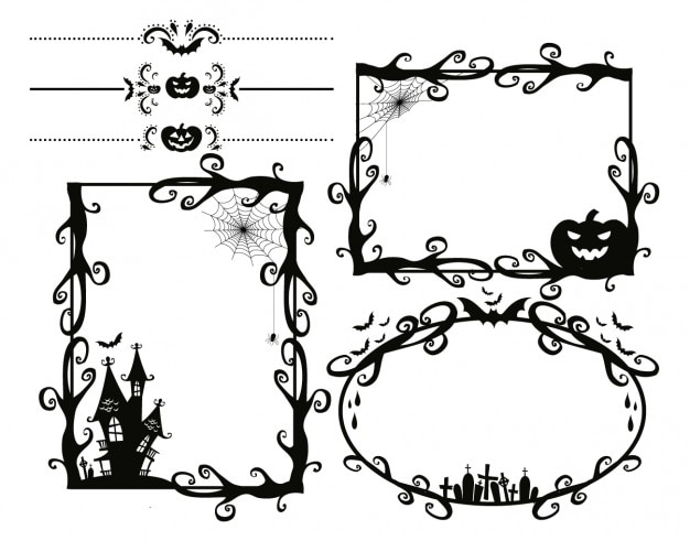 Scary Halloween frames Vector | Free Download
