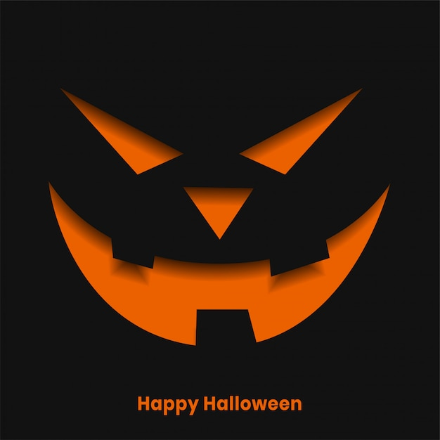 Scary halloween ghost face in paper cut style illustration Free Vector