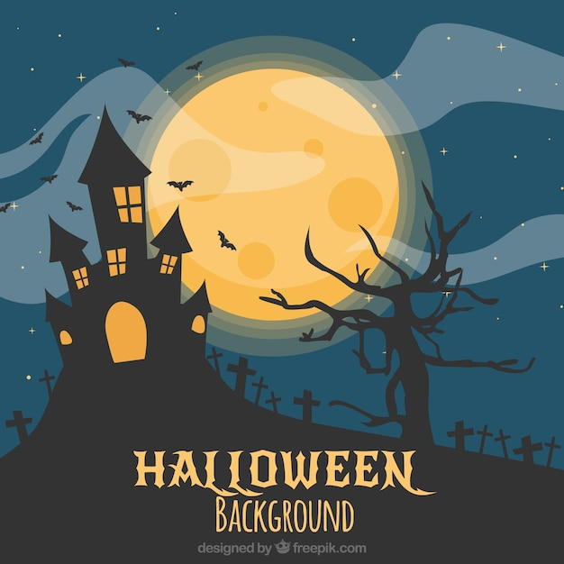 scary halloween landscape background free vector