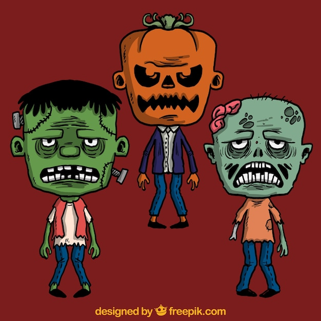 Scary halloween monsters Vector | Free Download