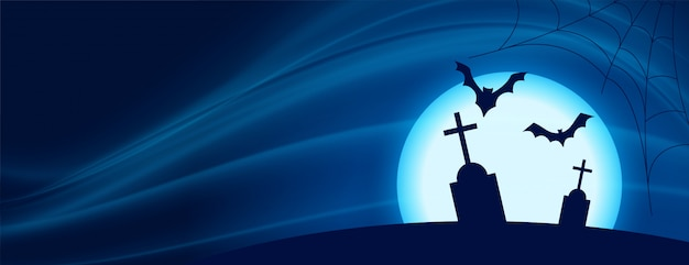 Scary halloween night scene with flying bats and grave Free Vector