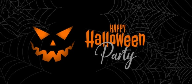 Scary halloween party banner design Free Vector