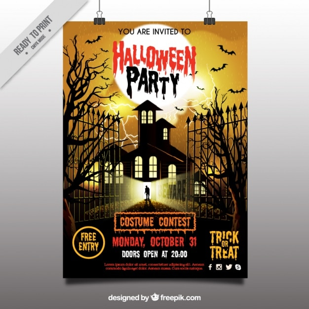Scary halloween party poster Free Vector