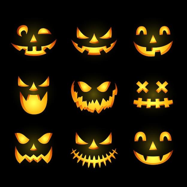 Scary halloween pumpkin face icon Premium Vector