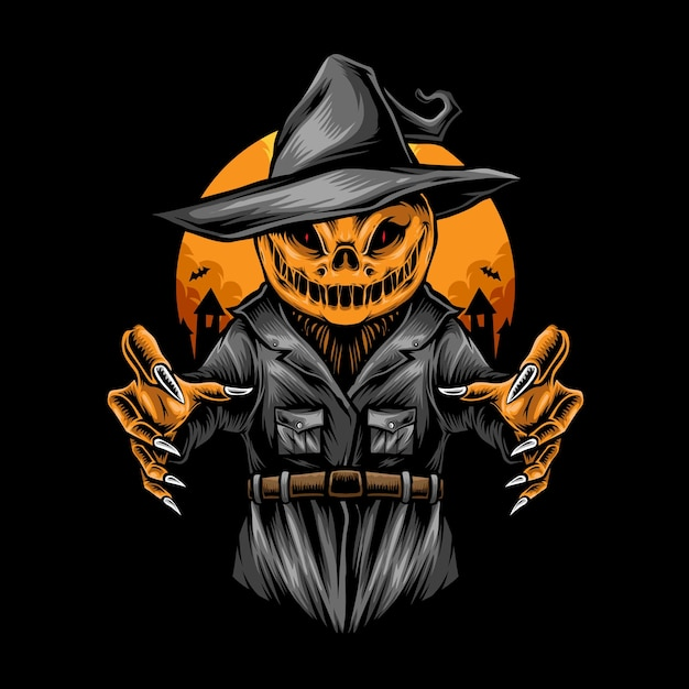 Scary halloween scarecrow  illustration Premium Vector