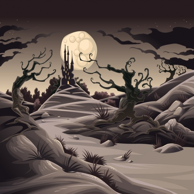 Scary landscape background Free Vector