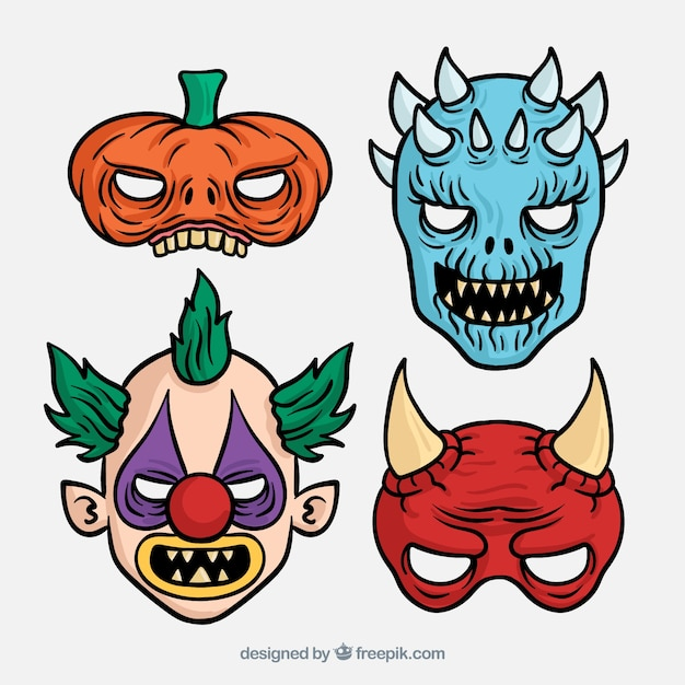 Scary masks for halloween Free Vector