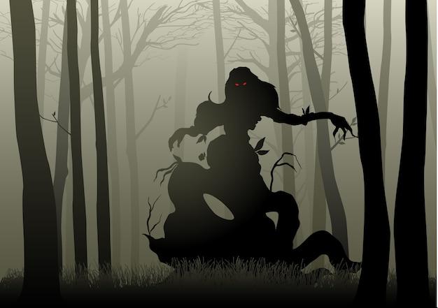 Scary monster in dark woods Premium Vector