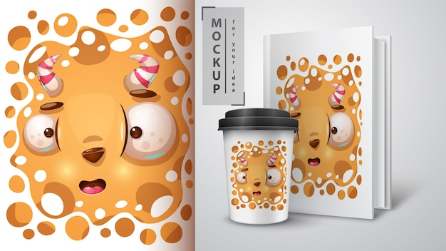 Scary monster design for cup Premium Vector