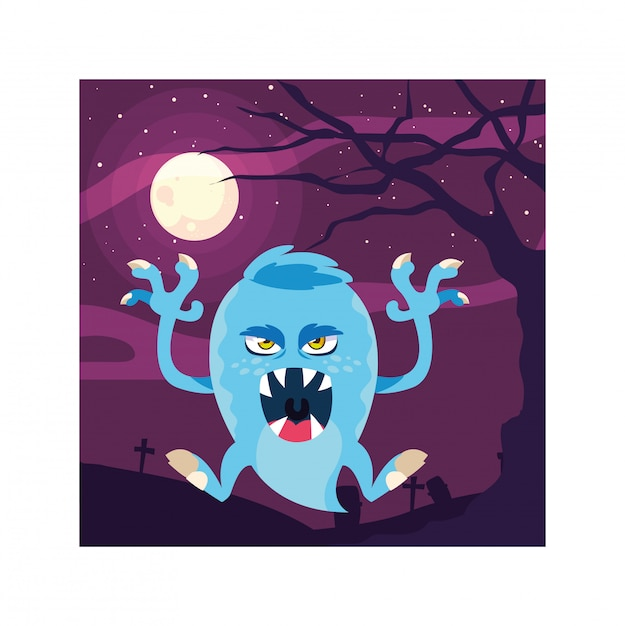 Scary monster in halloween night, angry monster Premium Vector