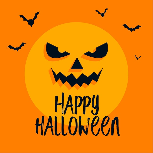 Scary moon face and bats on happy halloween card Free Vector