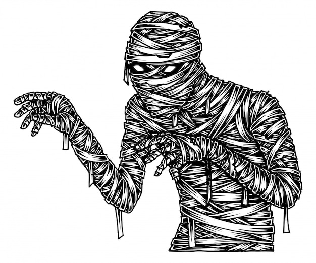 Scary mummy, hand drawn illustration vector Premium Vector