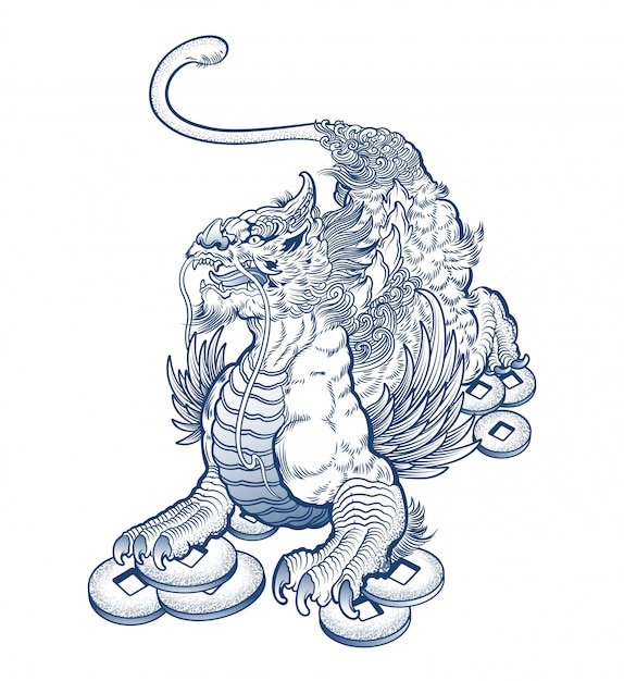 Scary mythical griffin tattoo Premium Vector