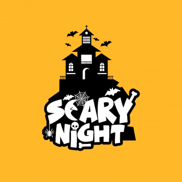 Scary night design with typography vector Premium Vector