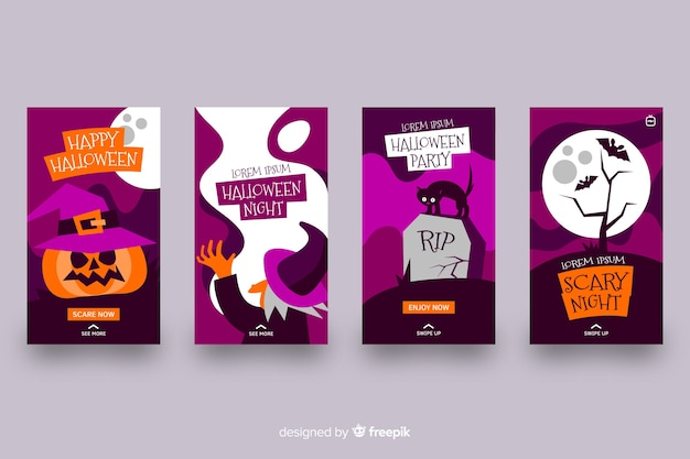 Scary night ideas for instagram stories collection Vector