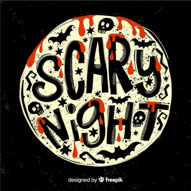 Scary night lettering on a full moon Vector | Free Download