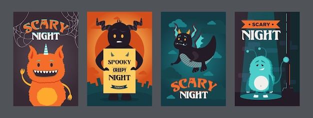 Дизайн страшных ночных постеров с забавными монстрами. яркая яркая брошюра для жуткой вечеринки. хэллоуин и концепция праздника. шаблон для рекламного буклета или флаера Бесплатные векторы