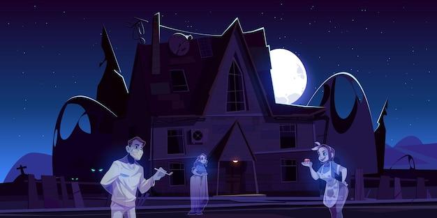 Страшный старый дом с привидениями и кладбище ночью. Бесплатные векторы