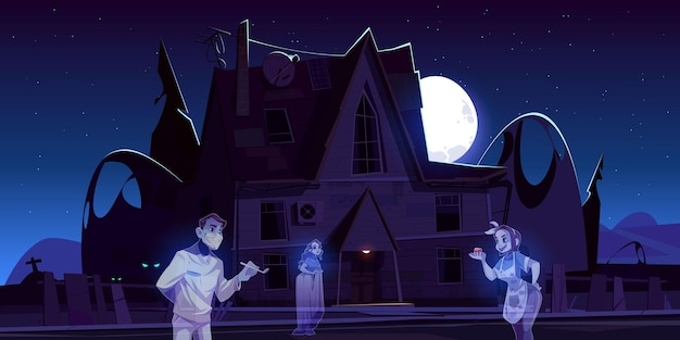 Scary old house with ghosts and cemetery at night. Free Vector