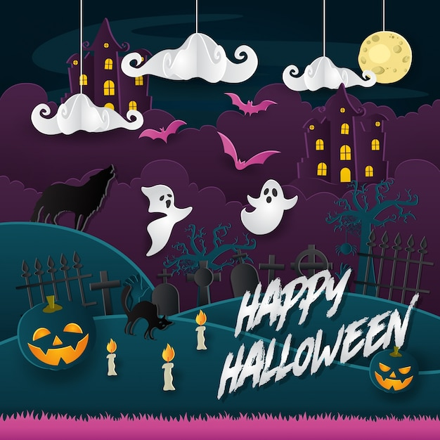 Scary paper art style happy halloween card Premium Vector