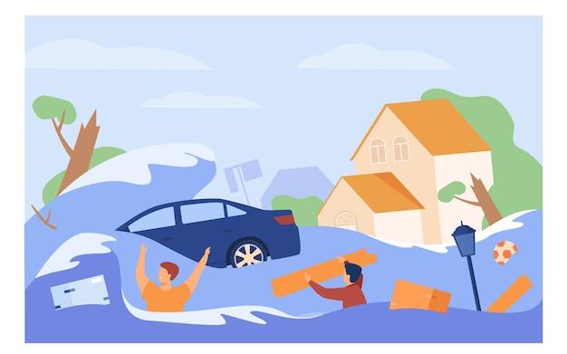 La gente spaventosa che annega nell'illustrazione piana di vettore isolata acqua. cartoon case sommerse, auto annegata durante l'alluvione o lo tsunami. Vettore gratuito