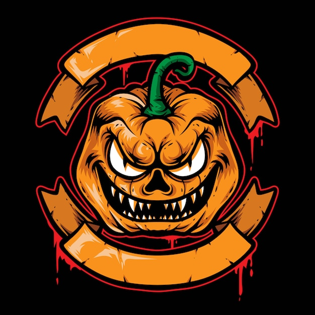 Scary pumpkin badge vector logo Premium Vector