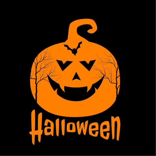 Scary pumpkin and bat on happy halloween background Free Vector