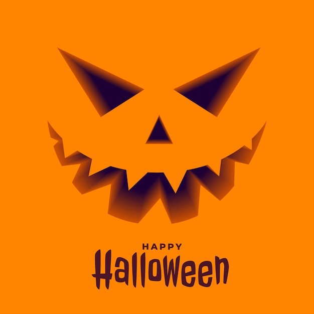 Scary pumpkin face in 3d style halloween background Free Vector