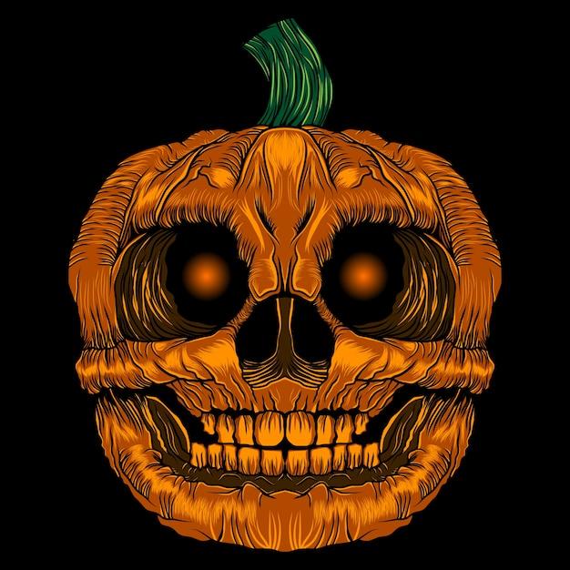 Scary pumpkin halloween vector Premium Vector