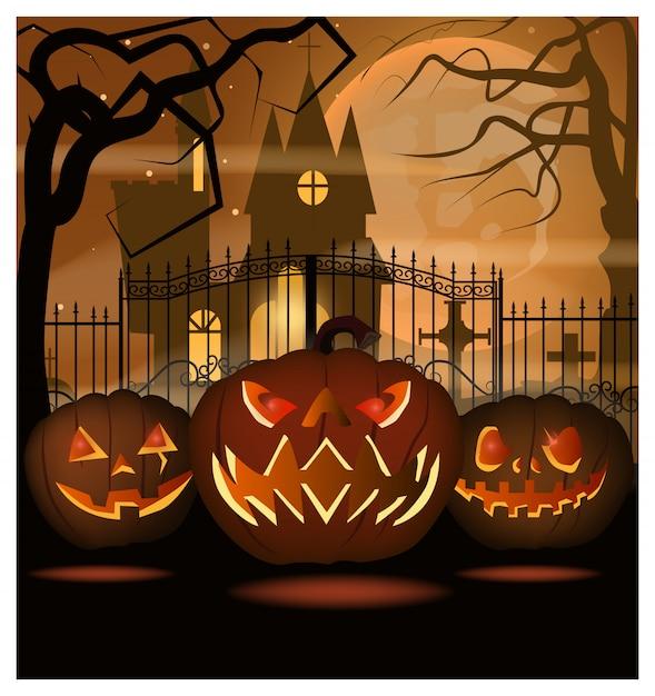 Scary pumpkins against iron fence illustration Premium Vector