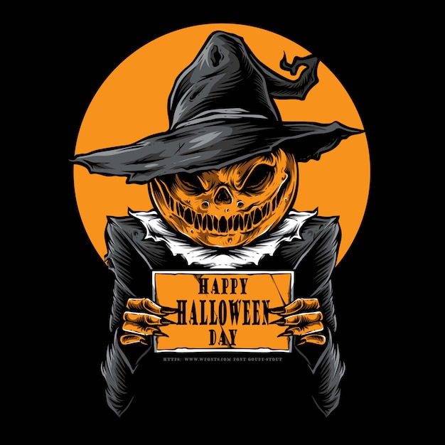 Scary pumpkins holding card Premium Vector